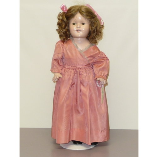 Shirley Temple Type Compo Doll, 17""