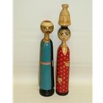 Pair of Egyptian Wood Dolls