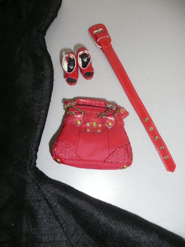 Integrity Black Dress, Red Shoes, Belt & Purse-14366