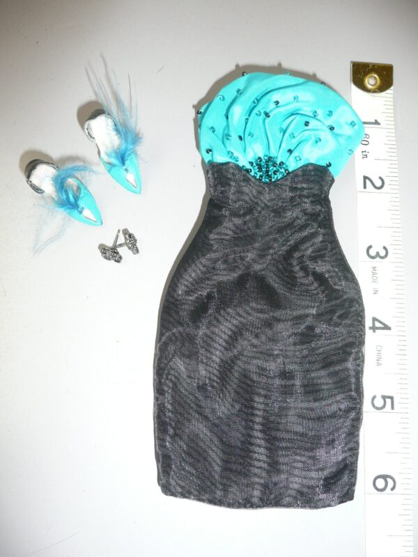 Integrity FR Aqua & Black Dress, Shoes & Earrings-0