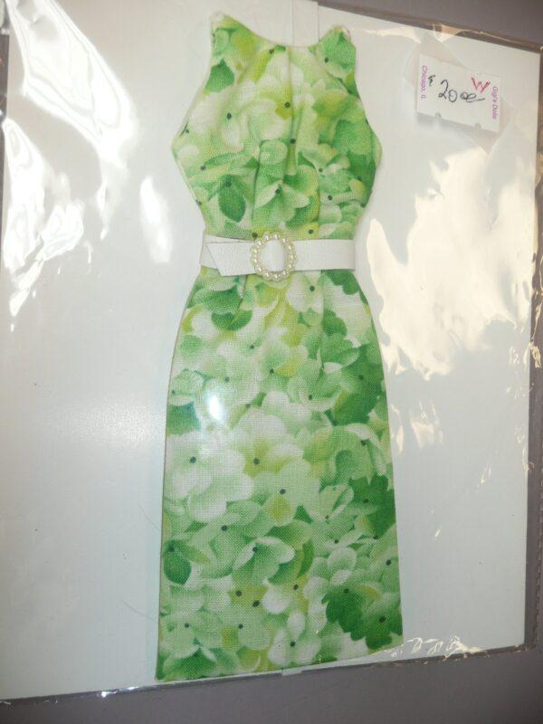 Green Floral Print Dress, Fits Integrity Dolls-0
