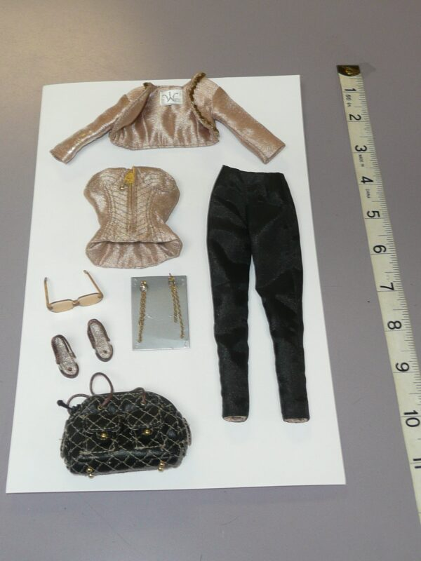 Integrity Gold Jacket, Bustier & Black Pants, Bag, Shoes, Jewelry & Glasses-0